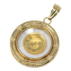 コイン イルカ ドルフィン エリザベス II ペンダント トップ 金貨 $4 FOUR DOLLARS 999.9 GOLD 1/30 OZ 24金 枠 18金 ガラス付