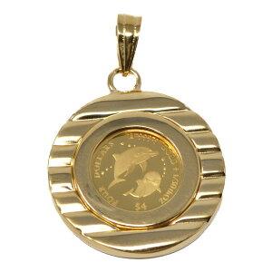 コイン イルカ ドルフィン エリザベス II ペンダント トップ 金貨 $4 FOUR DOLLARS 999.9 GOLD 1/30 OZ  24金 枠 18金