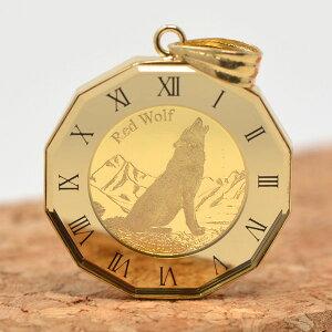コイン ウルフ 狼 コンドル コイン ペンダント トップ K24 1/25オンス 24金 枠 18金 送料無料