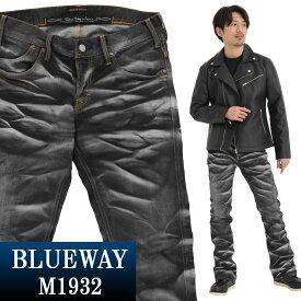 ブーツカット;BLUEWAY:ストレッチデニム・ブーツカットジーンズ(ホワイトシェーバー:ブラック):M1932-5765 ブルーウェイ ジーンズ メンズ デニム 裾上げ