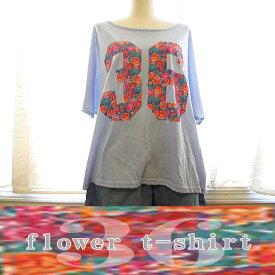 Tシャツ レディース 半袖 花柄 ゆったり 大きめ おしゃれ 可愛い コットンTシャツ 春 夏 水色 ライトブルー ピンク カラフル 数字 フラワー 大人かわいい カジュアル シャツ 綿100% 大きいサイズ 半袖シャツ フリーサイズ <メール便対応可>*花柄36Tシャツ