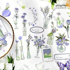 (席間花影系列)海外ステッカー PET素材 20柄40枚入り■全4種類■花瓶 一輪挿し 植物 花 フラワー かわいい 可愛い 珍しい ジャンクジャーナル コラージュ 手帳