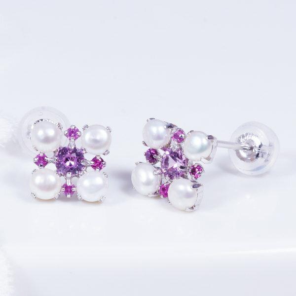 ギフトおすすめ おしゃれアップのおすすめピアス18金ホワイトゴールドピンクサファイヤ&淡水真珠ピアス(PA-9623)