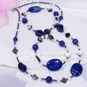 シルバー淡水真珠&ラピスラズリシェルヘマタイトデザインネックレスFN3173AA