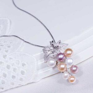 ギフトおすすめ 特別奉仕品 シルバー 淡水真珠 ペンダントネックレス兼ブローチ ぶどう マルチカラー