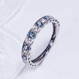 プラチナアレキサンドライトダイヤデザインリング一文字