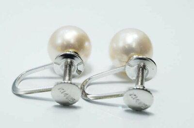K14WGイヤリング天然和珠真珠7.5ミリ