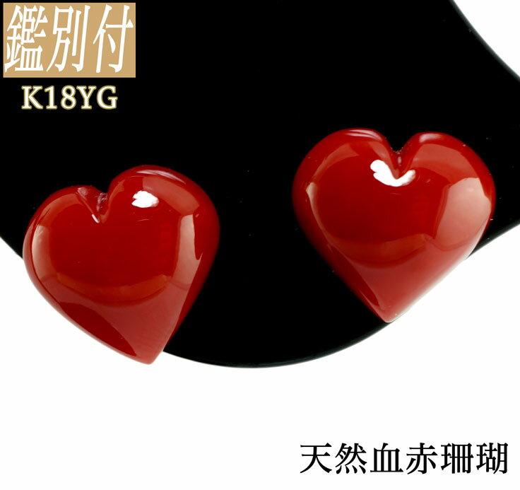 【鑑別付】血赤珊瑚 K18YG スタッドピアス可愛い