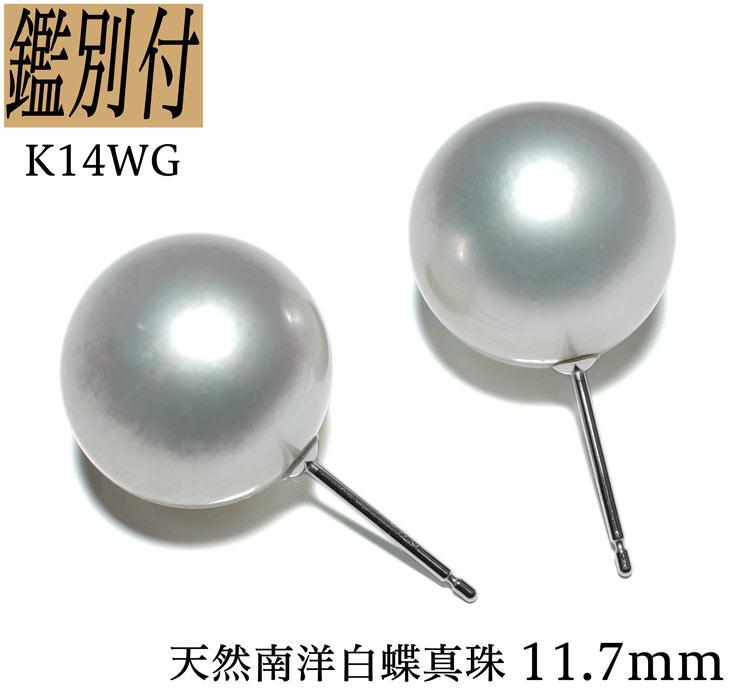 【鑑別付】K14WG 南洋白蝶真珠 11.7mm ホワイトゴールド スタッドピアス