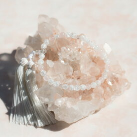 宝石のルビーノ【10月誕生石 略式ローズクォーツ数珠】8mm玉 ローズクォーツ 水晶使用 10P05Nov16