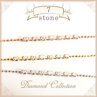 K18 천연 다이아몬드 팔찌 7알갱이 디자인 다이아몬드 0.15 ct Solitaire collection K18 옐로우 골드 K18 핑크 골드 K18 화이트 골드