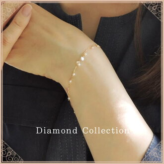 K18 천연 다이아몬드 담수 펄 팔찌 1알갱이 디자인 다이아몬드 0.1 ct Solitaire collection K18 옐로우 골드 K18 핑크 골드 K18 화이트 골드