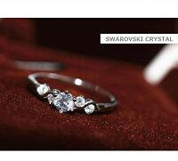 リング指輪結婚指輪ピンキーリング大きいサイズスワロフスキーSWAROVSKIあす楽DM便発送送料無料K18レディースアクセサリー