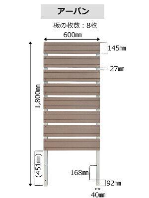 スタイリッシュフェンス1800×600mmwithプランターフラット/アーバンフェンスプランター目隠し園芸ガーデニング人工木ボーダ横しま