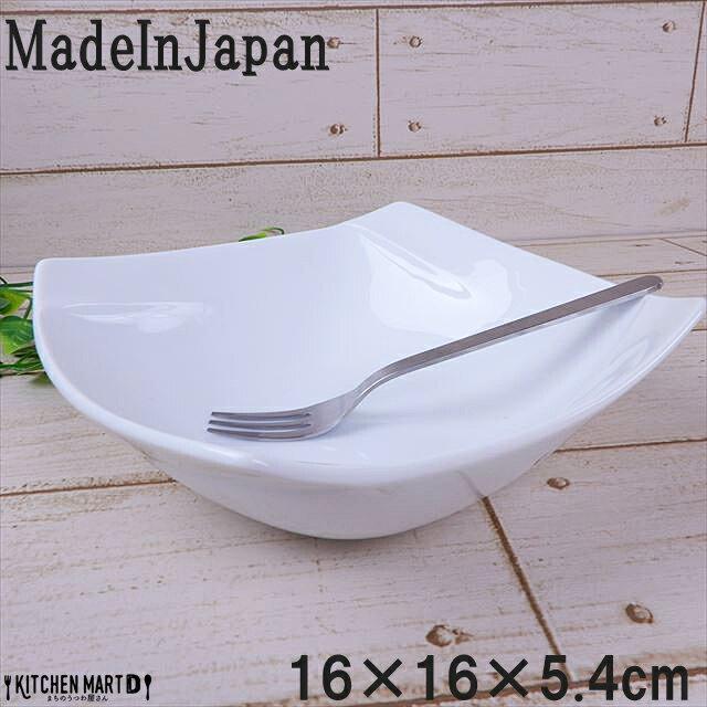 Obi-オビ- 16cm スクエア ボウル 鉢 ホワイト スクエアー miyama 深山 ミヤマ フレンチ サラダ 中鉢 角鉢 角 皿 食器 白磁 陶器 日本製 美濃焼 みずなみ焼 業務用 ラッピング不可