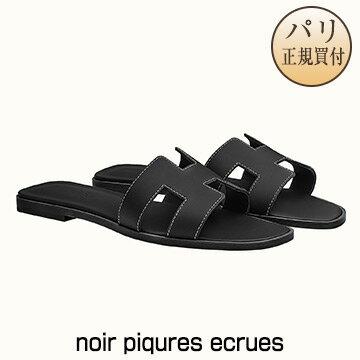 新品 HERMES サンダル 【2019年春夏コレクション】 ORAN オラン noir piqures ecrues [フランス・ファッション・シューズ]