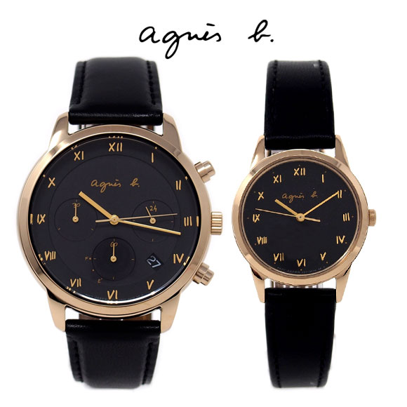 アニエスベー 時計 ペアウォッチ FBRD941 FBSD941 ペア ブラック ゴールド ソーラー メンズ レディース アニエス 腕時計 誕生日プレゼント 記念日 プレゼント