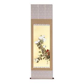 複製掛軸 酒井抱一 「十二か月花鳥図」 九月 「菊に子禽図」