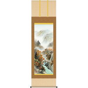小林秀峰 「四季山水」 掛軸 四幅組 秋紅情景