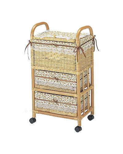 ラタン チェスト ランドリーボックス 3杯タイプ: ラタンバスケット 籐家具 ラタンチェスト 収納 アジアン 高品質 送料無料 K-Style