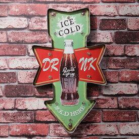 レストラン ドリンク コーラ ブルー 店舗 OPEN ブリキ 看板 LED ウォールサイン アメリカン レトロ ヴィンテージ デザイン
