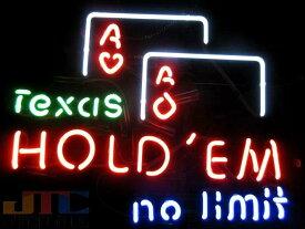 【海外直輸入商品・納期1週間〜3週間程度】【全国送料送料無料・沖縄・離島を除く】F91 カード ゲーム Texas Hold'em No Limit ネオン看板 ネオンサイン 広告 店舗用 NEON SIGN アメリカン雑貨 看板 ネオン管
