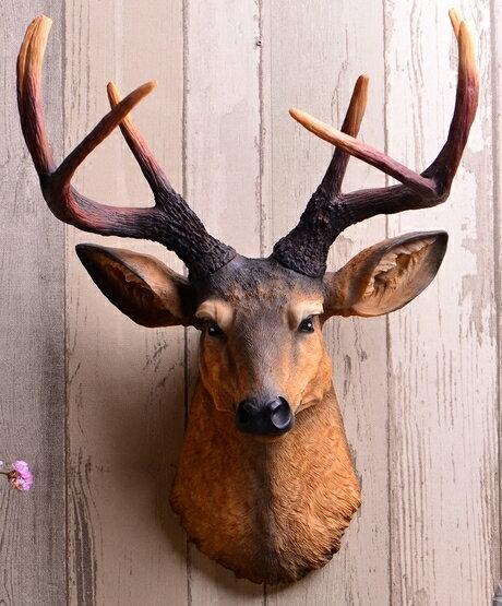 特大 超リアル 茶色 壁掛け 鹿 オブジェ 木製風 剥製 インテリア アニマル ANIMAL HEAD 北欧 モダン 動物 顔 高級 モダン おしゃれ トナカイ ユニーク デザイン