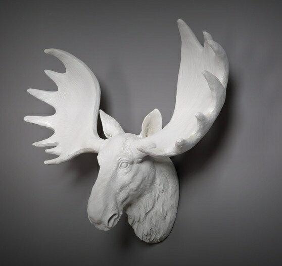 白 大角 壁掛け 鹿 オブジェ 剥製 インテリア アニマル ANIMAL HEAD 北欧 モダン 動物 顔 高級 モダン おしゃれ トナカイ ユニーク デザイン