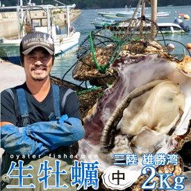 生牡蠣 殻付き 2kg 中 生食用宮城県産 漁師直送 格安生牡蠣お取り寄せ