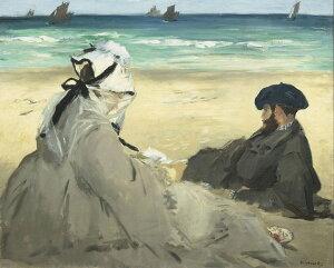 油絵 油彩画 絵画 複製画 エドゥアール・マネ 浜辺にて F10サイズ F10号 530x455mm すぐに飾れる豪華額縁付きキャンバス