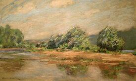 【送料無料】絵画 油彩画複製油絵複製画/クロード・モネ ポール=ヴィレのセーヌ川 F10サイズ 530x455mm 【すぐに飾れる豪華額縁付 キャンバス】