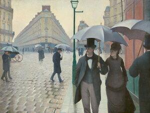 油絵 油彩画 絵画 複製画 ギュスターヴ・カイユボット パリの通り、雨 P10サイズ P10号 530x410mm すぐに飾れる豪華額縁付きキャンバス