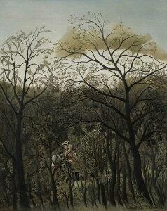 【送料無料】絵画 油彩画複製油絵複製画/アンリ・ルソー 森のランデヴー F8サイズ F8号 455x380mm すぐに飾れる豪華額縁付きキャンバス