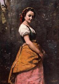 油絵 ジャン=バティスト・カミーユ・コロー 森の中の若い女 P12サイズ P12号 606x455mm 油彩画 絵画 複製画 選べる額縁 選べるサイズ