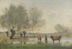 油絵 油彩画 絵画 複製画 ジャン=バティスト・カミーユ・コロー 沼地の牛のいる風景 P10サイズ P10号 530x410mm すぐに飾れる豪華額縁付きキャンバス