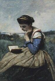 油絵 ジャン=バティスト・カミーユ・コロー 本を読む女性 P12サイズ P12号 606x455mm 油彩画 絵画 複製画 選べる額縁 選べるサイズ