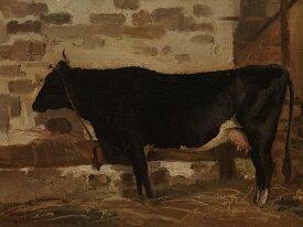 油絵 油彩画 絵画 複製画 ジャン=バティスト・カミーユ・コロー 牛舎の牛 P10サイズ P10号 530x410mm すぐに飾れる豪華額縁付きキャンバス