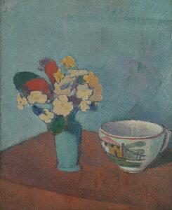 絵画 インテリア 額入り 壁掛け複製油絵エミール・ベルナール 花瓶と花とカップ F20サイズ F20号 727x606mm 絵画 インテリア 額入り 壁掛け 油絵