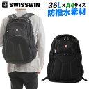 SWISSWIN バックパック | リュック ビジネスバッグ メンズ リュックサック デイパック スクールバッグ A4サイズ 男女兼用 アウトドア ブラック 36L SW9807