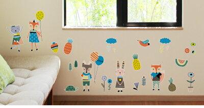 ウォールステッカー壁紙シール貼ってはがせる「北欧風キッズアニマル」日本製壁ペタっステッカー【クリックポスト送料無料】