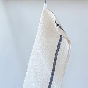 【全色展開中】fog linen work(フォグリネンワーク) リネンライン入りキッチンクロス厚地 ホワイト/ネイビーライン [LKC138-WNA]【食器拭き ふきん 布巾 おしゃれ ナチュラル シンプル 麻 お弁当