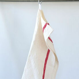 【全色展開中】fog linen work(フォグリネンワーク) リネンライン入りキッチンクロス厚地 ホワイト/レッドライン [LKC138-WRE]【食器拭き ふきん 布巾 おしゃれ ナチュラル シンプル 麻 お弁当包み 風呂敷】