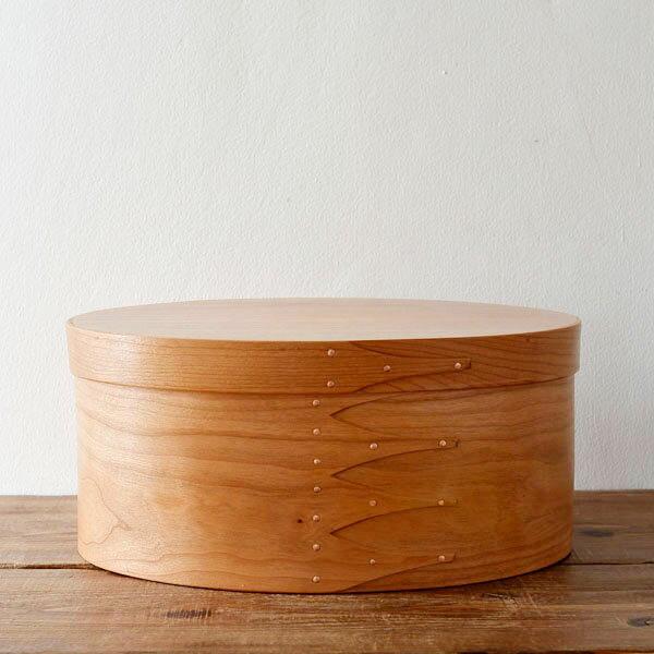 シェーカーボックス オーバル(チェリー) #5 [BR001-5]【北欧 トレー トレイ 木製 無垢 桜 ふた付き スタッキング 裁縫箱 ソーイングボックス】