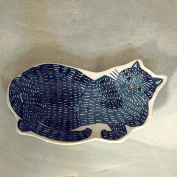 倉敷意匠 kata kata 印判手大皿 青猫 [94722-15]【小皿 鍋 取り皿 和食器 国産 日本製】