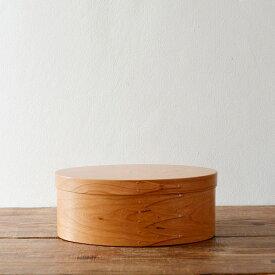 シェーカーボックス オーバル(チェリー) #2 [BR001-2]【北欧 トレー トレイ 木製 無垢 桜 ふた付き スタッキング 裁縫箱 ソーイングボックス】