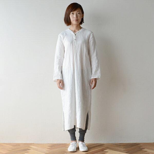 ■キナル別注■ fog linen work(フォグリネンワーク) スピカ ナイトシャツ ホワイト[KINARU069-19]