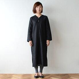 ■キナル別注■ fog linen work(フォグリネンワーク) スピカ ナイトシャツ ブラック[KINARU069-17]