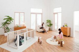 ペットサークル 犬用 [ サークル プラス F 80 Lp メッシュ ] 中型犬 大型犬 サークル 多頭飼い 室内用 木製 日本製 ペット家具