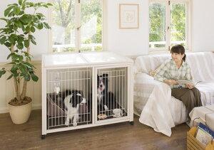 [セール]犬 ケージ [ ペット ケージ ハウス BS-B120 + ニュークリネスシート BS120用 ] 木製 大型 ゲージ おしゃれ 室内用 スライド屋根付 キャスター付 マット付 日本製