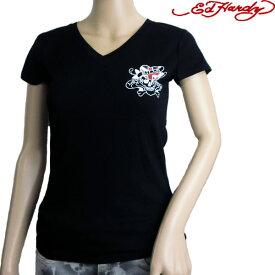 エドハーディー(Ed Hardy) Tシャツ レディース Vネック ラブキル スカル ブラック/ホワイト XS/S/M